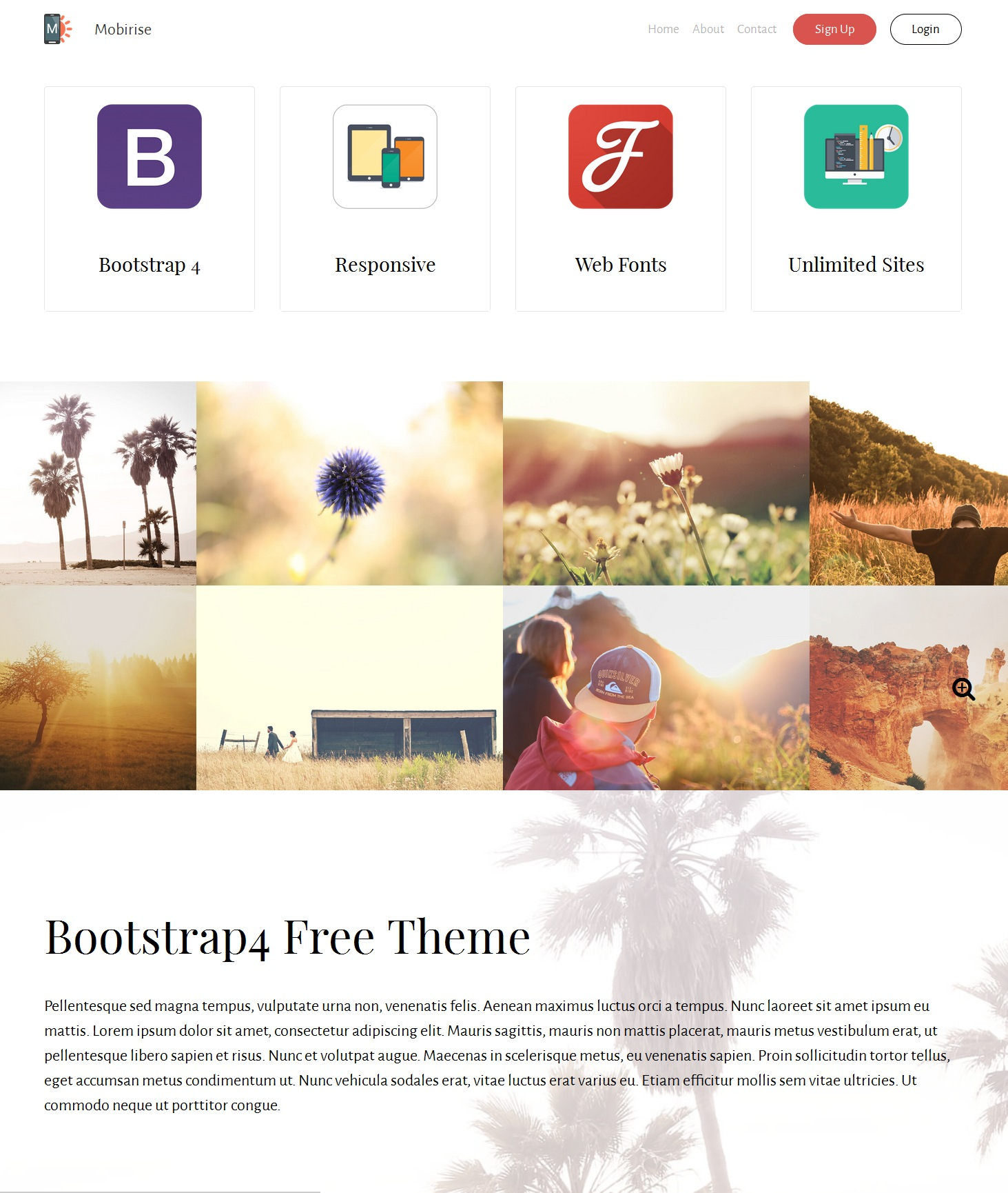 Free Download Bootstrap Parallax Theme