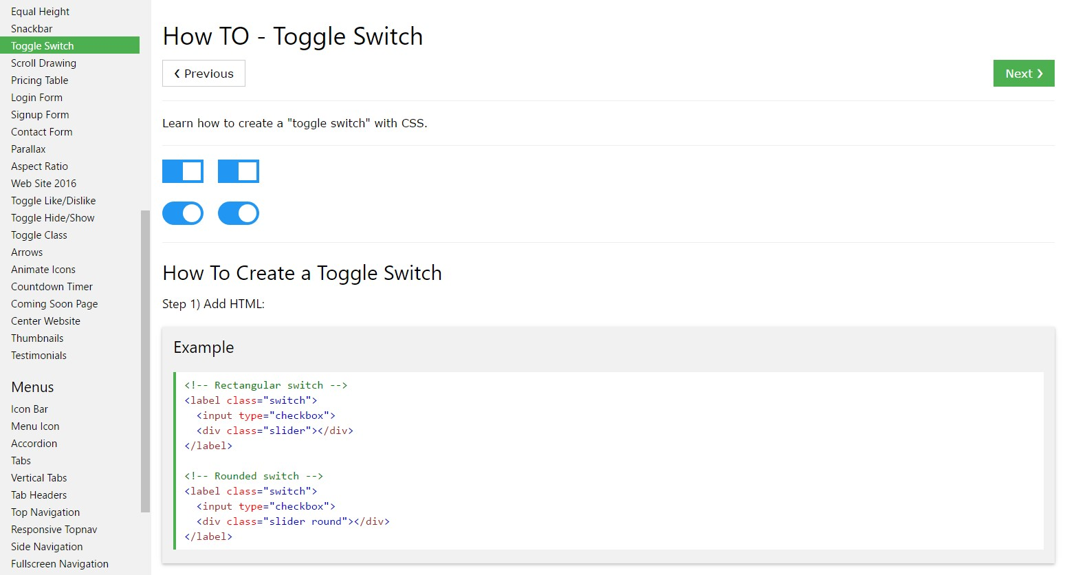 The ways to  generate Toggle Switch