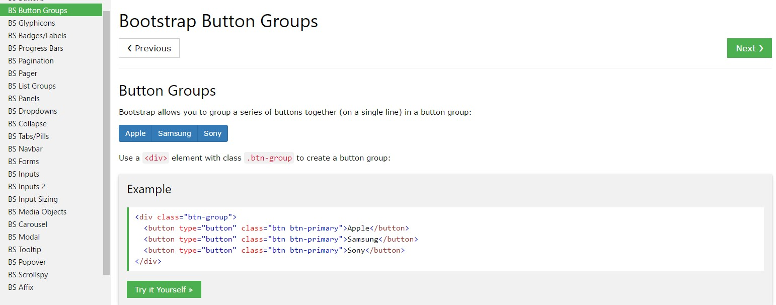 Bootstrap button group  information
