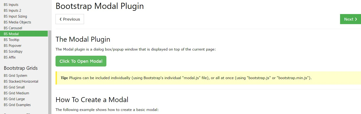 Bootstrap Modal Popup:  guide  information