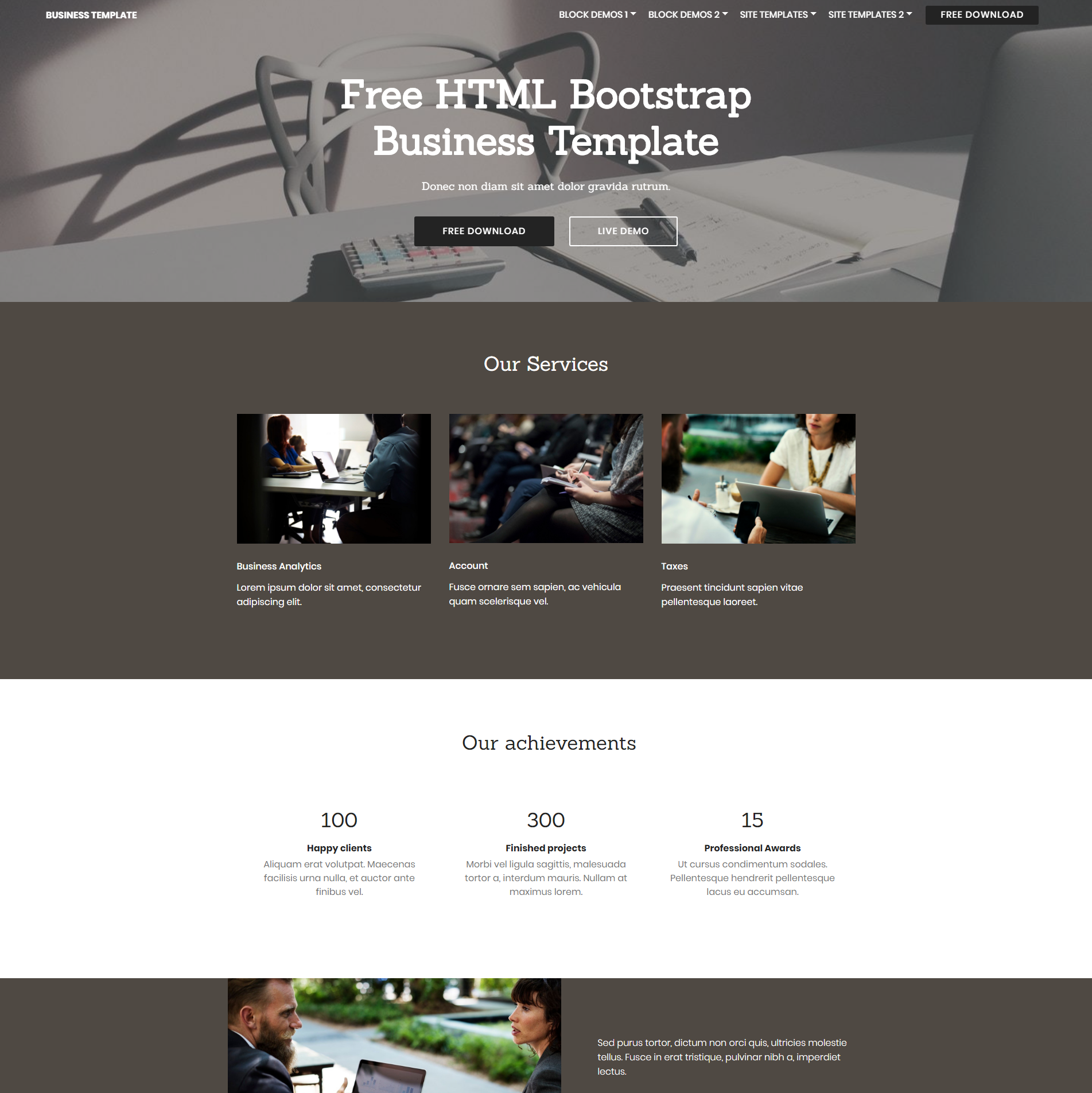 HTML5 Bootstrap Busines Themes